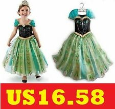 Frozen Princess Queen ELSA ANNA Costume Girl's Party Cosplay Dress Dresses 3-8T