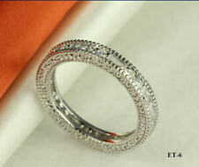 3.66 CT STERLING SILVER VINTAGE  SOLID CZ ETERNITY BAND RING ~SZ5-9~ET6~
