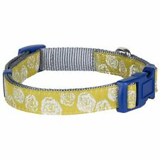 Blueberry Pet Adjustable Small-Large Nylon Dog Collar with Silver Tinsel Roses