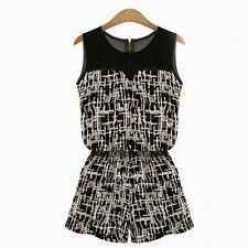 Abstract Print Women's Romper Jumpsuit Overall Trousers Hot Pants Zipper Pockets