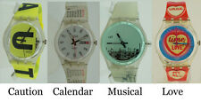 Swatch Musicall Yellow Caution 1998 Calendar Swiss Unisex Watch 34mm Authentic