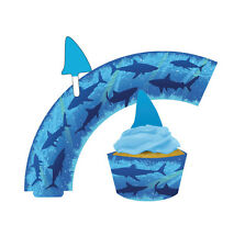 Great White Shark Party Cup Cake Wrap & Toppers 1 - 72pk