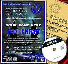 PERSONALISED JEDI KNIGHT STAR WARS CERTIFICATE + CREED & GAME - CHRISTMAS GIFT