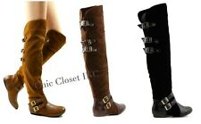 Women Tall Riding High Over The Knees Buckle Low Flat Brown Fux Suede Boots NEW