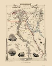 Old Middle East Map - Egypt and Arabia Peninsula - Tallis 1851 - 23 x 28.83