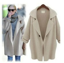 HOT Womens Fashion Loose Long Sleeve Lapel Knit Trench Coat Jacket R1012