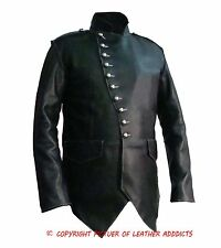 Mens Real Top Quality BLACK Leather Military Style Steampunk Jacket - SPJ2M