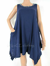 NEW Casual Soft Touch Cotton Italian Sleeveless Handkerchief Vest Tunic