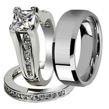 Womens 925 Sterling Silver CZ Engagement Wedding Ring & Mens Tungsten Band