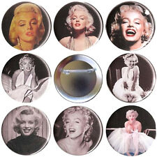 Marilyn Monroe Set of 8 Pinback Buttons, Magnets or Flat Backs - Pins Badges