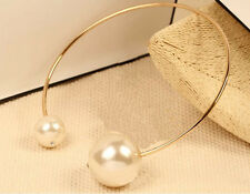 Double Big Pearl Rose Gold Collar Choker Statement Necklace