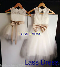 Princess Lace Flower Girl Dress Infant Toddler Bridal Party Dress with Sash&Bow