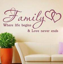 **Family Inspirational Wall Art - Wall Quote Sticker - Art Decor kit3