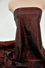 CONFETTI  SEQUIN BURGUNDY DISCO DOT KNIT FABRIC SKATE PAGEANT DANCE CHEER BOWS