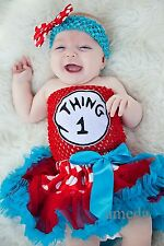 Baby Red Polka Dots Blue Pettiskirt Thing 1 2 3 Crochet Tube Top Party Dress