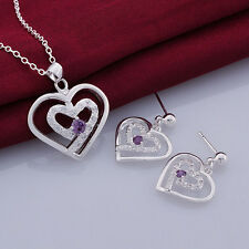 Fashion Promotion Jewelry 925 Sterling Silver Zircon Heart Necklace/Earring Set