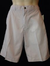 MENS CALLAWAY BERMUDA GOLF SHORTS FLAT FRONT MULTIPLE SIZES WHITE PLAID NWT