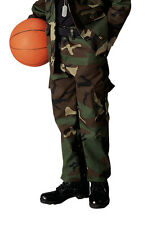 Kids Boys Woodland Forest Camo Military Style BDU Airsoft Pants Fatigues