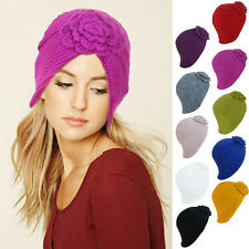 Baroque Style Womens Ladies Winter  Knit Floral Turban Beanie Ski Chemo Hat A232