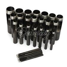 26 Size Hollow Punch Tool Set Hand Hole Punching Leather Gasket Carbon Steel Kit