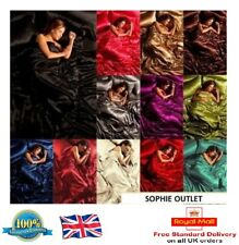 Satin 6Pcs Silky Complete Bedding Sets Duvet Cover Fitted Sheet & 4x Pillowcases