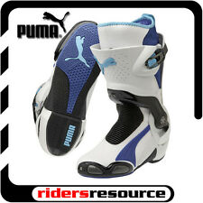 Puma Mens 1000v3 Race Street Motorcycle Boots White Blue