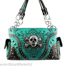 NEW Turqoise Western Style Skull Head & Crossbones Concealed Gun Carrying Purse