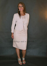 Gorgeous Suit Mother Of The Bride 2 Piece Outfit Dress Jacket Beige Metallic New
