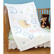 """Stamped White Quilt Crib Top 40""""X60""""-Bear On The Moon Brand New!"""
