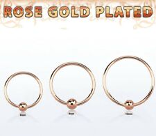 "22G~1/4"",5/16"",3/8"" Real Rose Gold Plated 925 Sterling Silver 2mm Ball Nose Hoop"