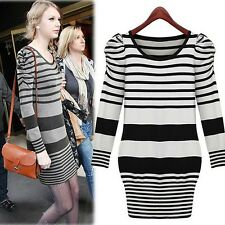 D48 2014 Fall Fashion Women Knitted Long Sleeved Bubble Shoulder Sweater Dress