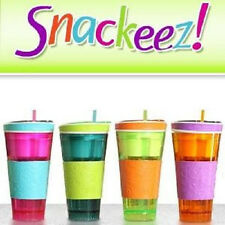 Snackeez As Seen On TV Travel Cup Snack Drink In One Container Lid Straw Wow!