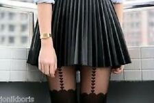 H&M PU BLACK FAUX LEATHER PLEATED SKATER SKIRT 8 10 12 14 16 BNWT