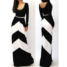 Sexy Sundress Long Sleeves Stripe Long Dress Party Casual Maxi Dress With Belt
