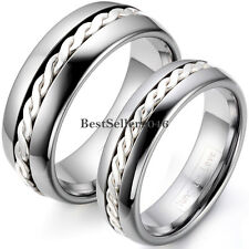 Hand Woven Silver Inlay Dome Tungsten Wedding Band Mens Womens Engagement Ring