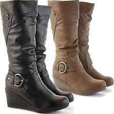 LADIES WOMENS PLATFORM FLAT WEDGE KNEE HIGH CALF BIKER LEATHER STYLE BOOTS SHOES