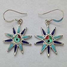 Sterling Silver Handmade Inlay Sun Face Spike Hook Dangle Earrings