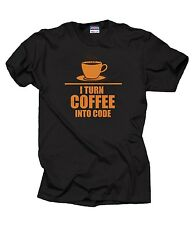 Programmer T-shirt Programming I Turn Coffee into code T-shirt Shirt Funny HTML