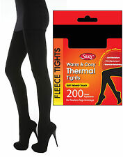 Black Thermal Tights Fleece Lined Thick 200 Denier Appearance Winter Warm