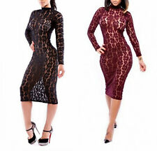 New Sexy Women Hollow Lace Floral Bodycon Midi Dress Cocktail Clubwear Party