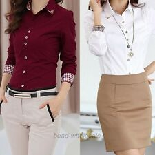 Women  Fashion  OL Style Shirt Long Sleeve Turn-down Collar Button Blouse Tops
