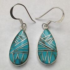 Sterling Silver Handmade Inlay Teardrop Hook Dangle Earrings