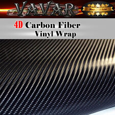 4D Black Carbon Fiber Texture Vinyl Wrap Roll Film Car Sticker Air Bubble Free