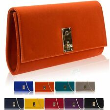 Ladies Faux Suede Clutch Bridal Prom Party Women Evening Bag Large NEW Medium UK