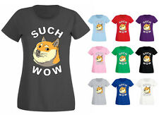 Womens Doge Such Wow Shibe Dog Funny T-shirt NEW UK 6-18