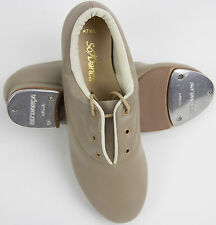 NEW! SO DANCA ALL LEATHER LACE UP TAP DANCE SHOE. COLOR: TAN / BEIGE. (TA45)