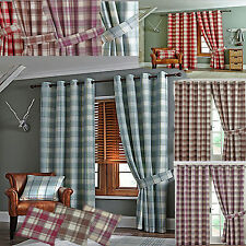 READY MADE LINED CURTAINS RING TOP JAQUARD CHECK LIVING/BEDROOM LOUNGE cheap P&P