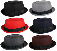 NEW UNISEX PORK PIE PORKPIE FEDORA SHORT BRIM CAP WOOL FELT BLEND HAT SIZE S/M