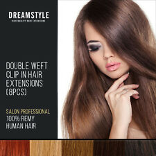 Double Wefted Remy Human Hair Clip In Hair Extensions Full Head