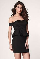 Classic Off the Shoulder Peplum Sheath Mini Club Cocktail Dress LC2957